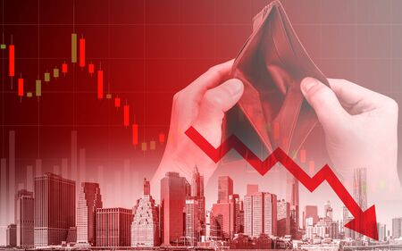 Economic recession crisis and people no money, downtrend stock exchange and hands with empty wallet red background Zdjęcie Seryjne - 143016692