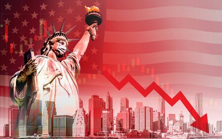 Concept of economic recession during the coronavirus outbreak in United States, downtrend stock with red arrow and The Statue of Liberty with mask background