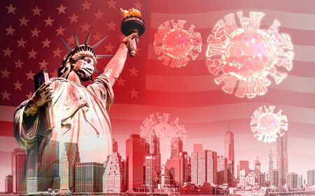 The Statue of Liberty with mask and coronavirus or covid-19 outbreak in United States background Zdjęcie Seryjne - 144848532