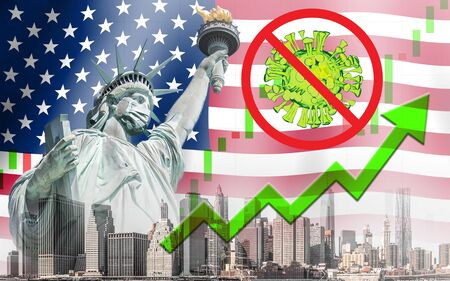 Concept of economic recovery after found vaccine and the coronavirus pandemic end, uptrend stock with green arrow and The Statue of Liberty with mask background in United States 免版税图像