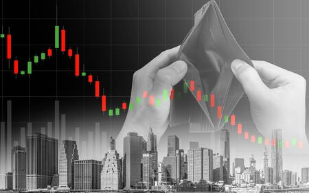 Economic recession crisis and people no money, downtrend stock exchange and hands with empty wallet red background