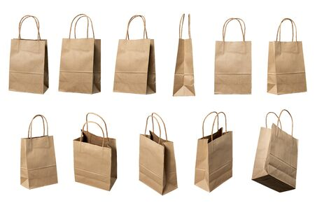 Brown paper bags high resolution multi views collection,  white background 免版税图像