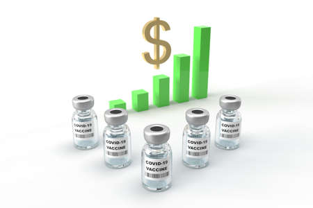 Concept of economic recovery after success the covid-19 vaccine and uptrend stock with green sign background, 3D rendering illustration