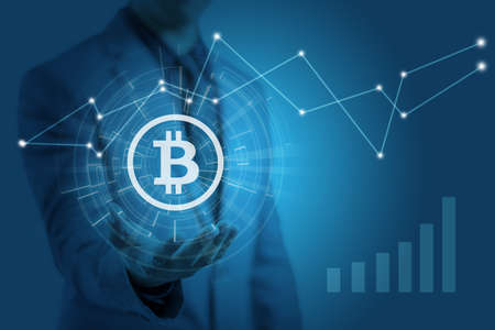 Businessman is showing bitcoin graphic symbol on hands with price increasing, concept of profit investment in digital asset
