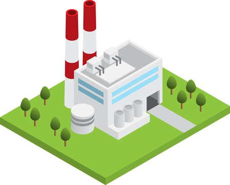 Simple isometric power plant station isolated, white background