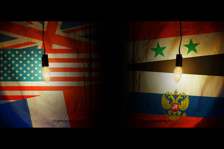 Flags of America, Britain, France opposite the flags of Syria and Russia