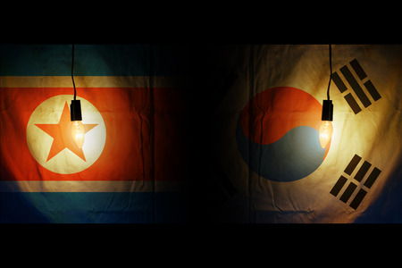 Flags of South and North Korea