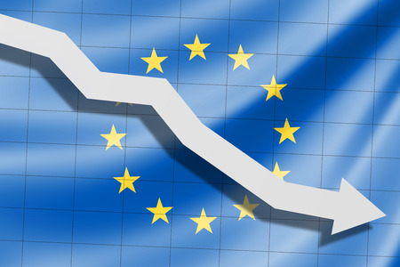 The arrow falls on the background of the EU European flag Stock Photo
