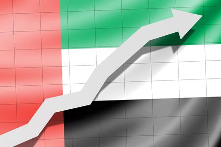 Arrow up on the flag of United Arab Emirates as background Stock Photo