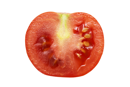 Half of the tomato. Isolated on white background. Red tomato on a white background 스톡 콘텐츠