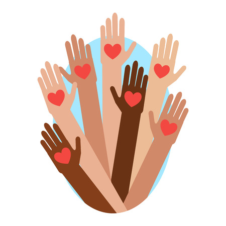 Hands with hearts.Charity and donation give and share your love to poor people.  Vector illustration,