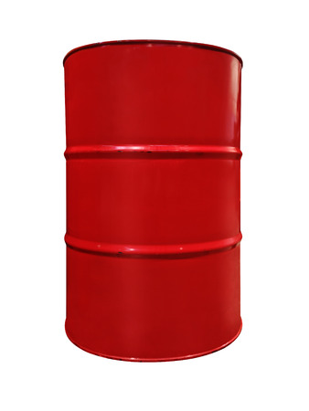 Red color metal oil barrel, isolated on white background. Red metal oil drum isolated on white background. Black gold. Oil barrel