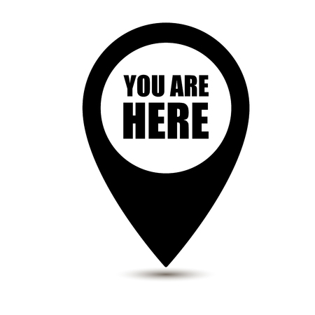 You are here icon. Map pointer icons. Marker location icon with you are here. Map pin icon with you are here Illustration