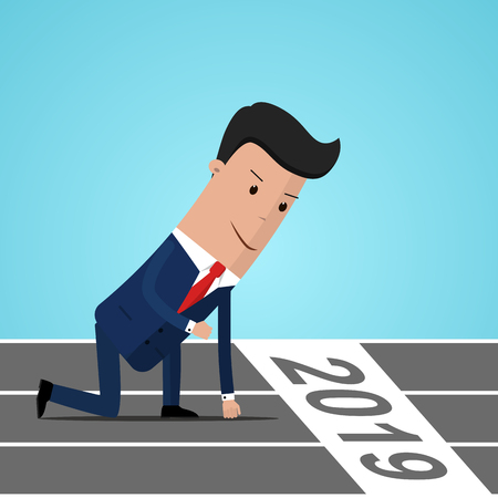 Businessman ready to sprint on starting line of the year 2019. Starting career, business concept. Vector illustration