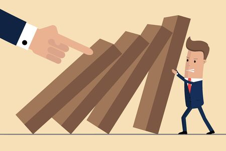 Businessman trying to stop falling domino. Business crisis management and solution concept. Concept of risk. Vector illustration Ilustrace