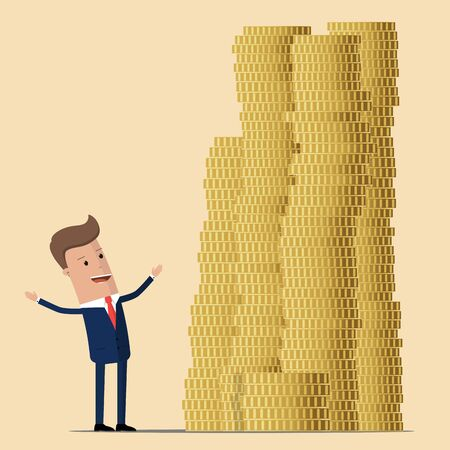Vector illustration of businessman proudly standing near with pile of gold coins. Vector illustration. Flat style business concept