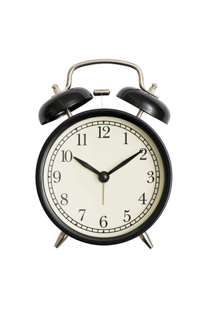 Black alarm clock isolated on white. Black vintage alarm clock isolated on white background