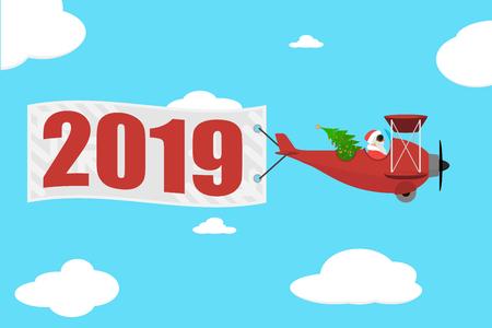 Le Père Noël vole en avion avec la bannière 2019. Le Père Noël dans l'avion avec l'arbre de Noël. Illustration vectorielle