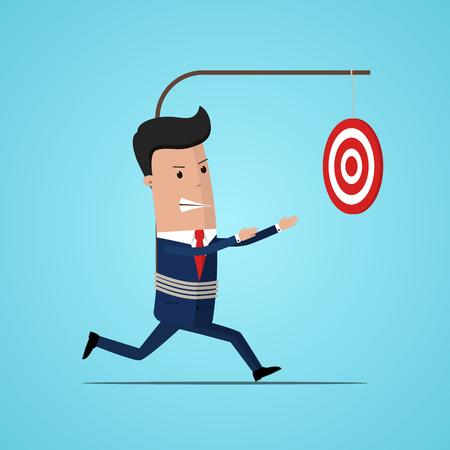Businessman runs to target. Business concept. Vector illustration. Challenge achieve aim. Business concept growth to success Illustration