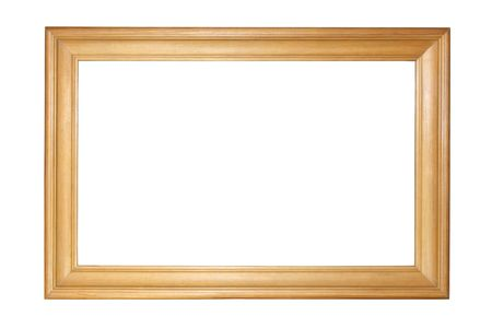 a frill: Wooden picture frame isolated on white.