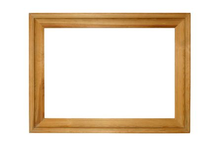 adorned: Wooden picture frame isolated on white.