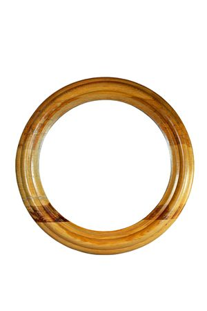 rounded circular: Wooden picture frame isolated on white