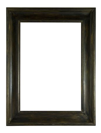 bordering: Wooden picture frame isolated on white.
