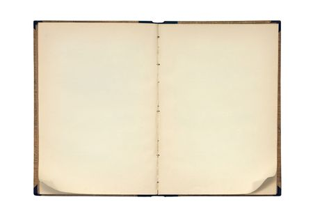opened: open old blank book isolated on white Stock Photo