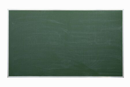 Green chalkboard isolated on white photo
