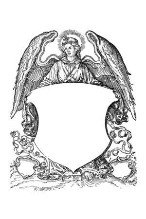 bata blanca: �ngel con el escudo de armas del siglo 16 Foto de archivo