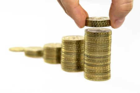 Rising Coins Stock Photo - 3945804