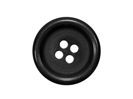 craft button: Black button isolated on white Stock Photo