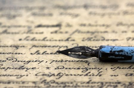 Ancient letter and pen photo