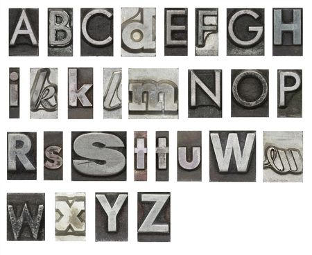 letterpress letters: Block letters isolated on white