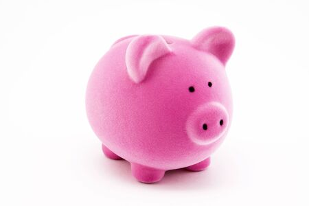 Pink piggy bank isolated on white Stock Photo