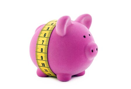 Piggy bank with measure tape.  photo