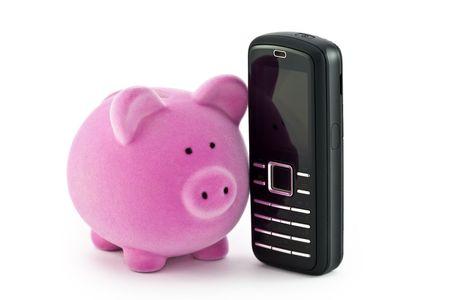 savings account: Piggy bank with phone