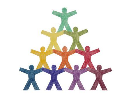 pyramide humaine: Pyramide de personnes de coupure de papier