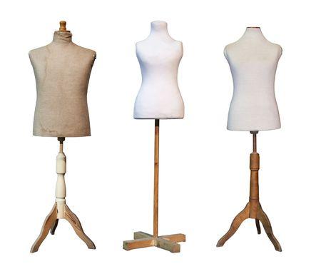 Kleermakers dummy mannequins geïsoleerd op wit Stockfoto
