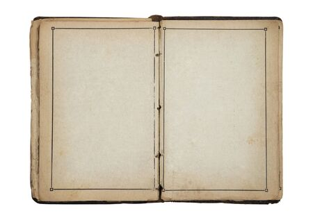 yellowed: Open old blank book