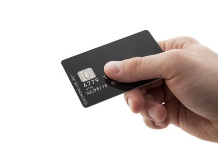 chip and pin: Hand with black credit card with chip
