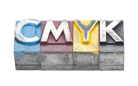 fount: Cmyk made from metal letters