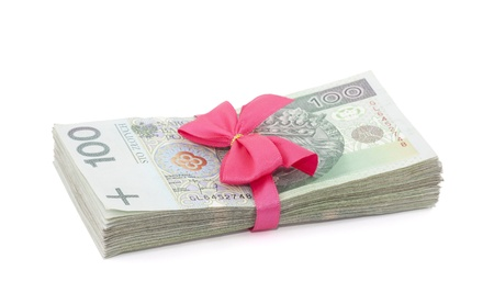 Polish money gift isolated on white photo