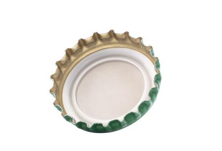 botellas de cerveza: Tap�n aislado en blanco