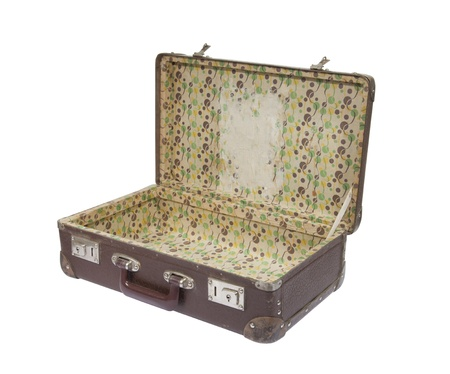 open suitcase: Old suitcase