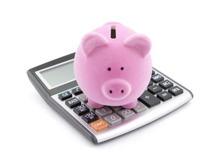 電卓: 貯蓄を計算します。 写真素材