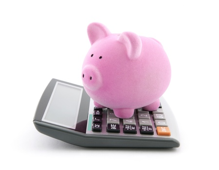 budget crisis: Calculating Savings Stock Photo