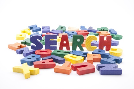 optimized: The word search written with colorful wooden letters Stock Photo