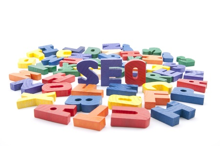 The word seo written with colorful wooden letters Stock Photo - 9437910
