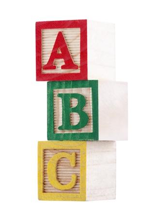 juguete: Bloques de madera alfabeto con trazado de recorte Foto de archivo